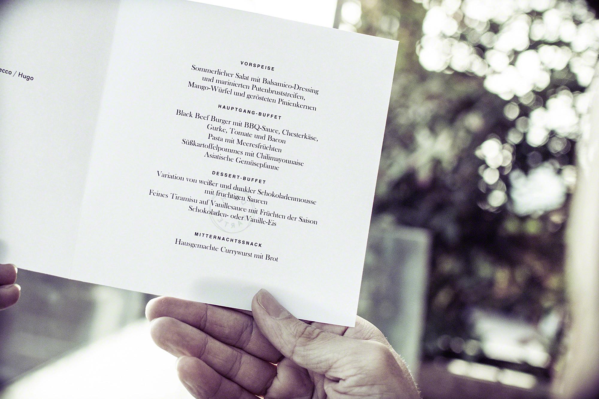 Hochzeitsreportage Speisekarte